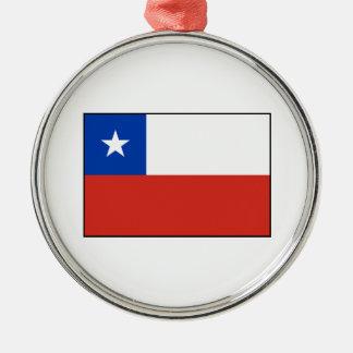 Chile - bandera chilena adorno redondo plateado