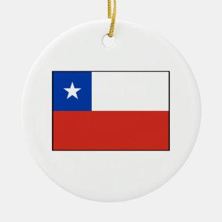 Chile - bandera chilena adorno redondo de cerámica