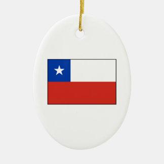 Chile - bandera chilena adorno ovalado de cerámica