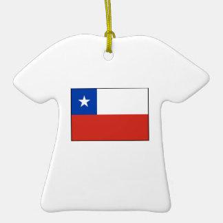 Chile - bandera chilena adorno de cerámica en forma de playera