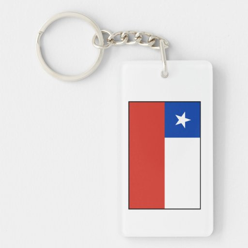 Chile - bandera chilena llavero rectangular acrílico a doble cara