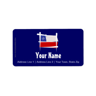Chile Brush Flag Label