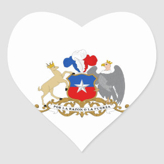 Chile Coat of Arms Heart Sticker