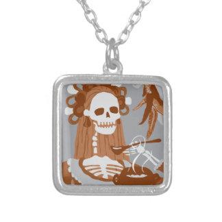 chile colorado : orange burn square pendant necklace
