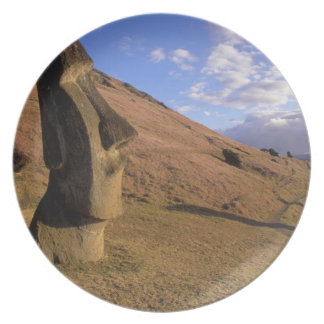 Chile, Easter Island. Hillside with Moai Melamine Plate