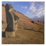 Chile, Easter Island. Hillside with Moai Ceramic Tiles