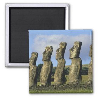 Chile, Easter Island, Rapa Nui, Ahu Akivi 2 Inch Square Magnet