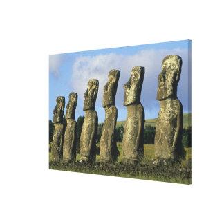 Chile, Easter Island, Rapa Nui, Ahu Akivi Canvas Print