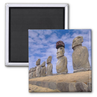 Chile, Easter Island. The 15 Moais at Ahu 2 Inch Square Magnet