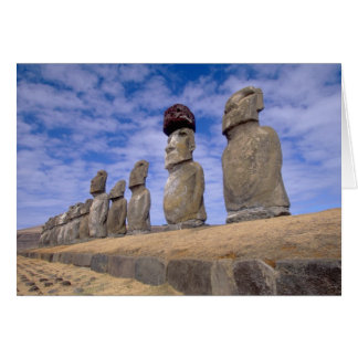 Chile, Easter Island. The 15 Moais at Ahu Card
