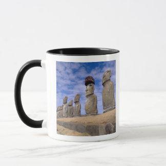 Chile, Easter Island. The 15 Moais at Ahu Mug