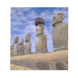 Chile, Easter Island. The 15 Moais at Ahu Note Pad