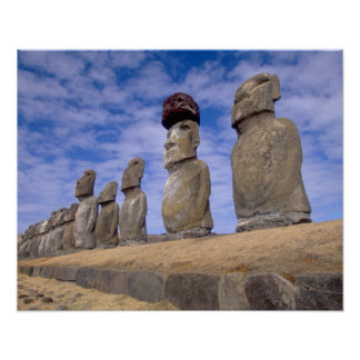 Chile Easter Island The 15 Moais at Ahu Print