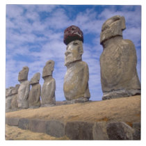 Chile, Easter Island. The 15 Moais at Ahu Tile