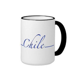 Chile (escritura azul) tazas