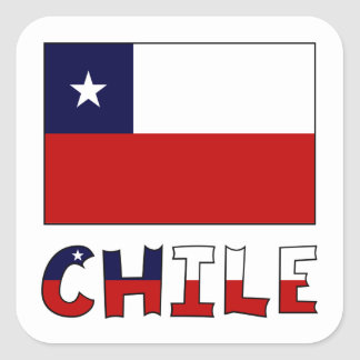 Chile Flag and Name in Color Square Sticker