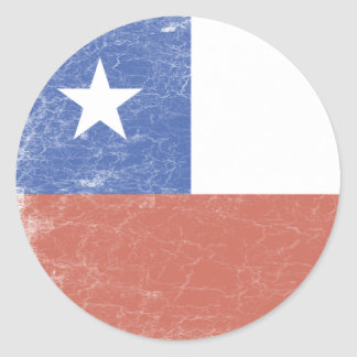 Chile Flag distressed Classic Round Sticker