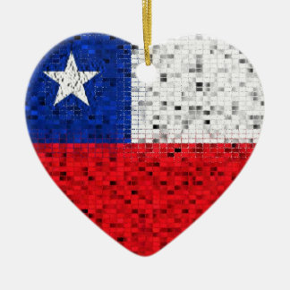 Chile Flag glitter ornament