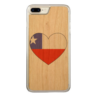 Chile Flag Heart Carved iPhone 7 Plus Case