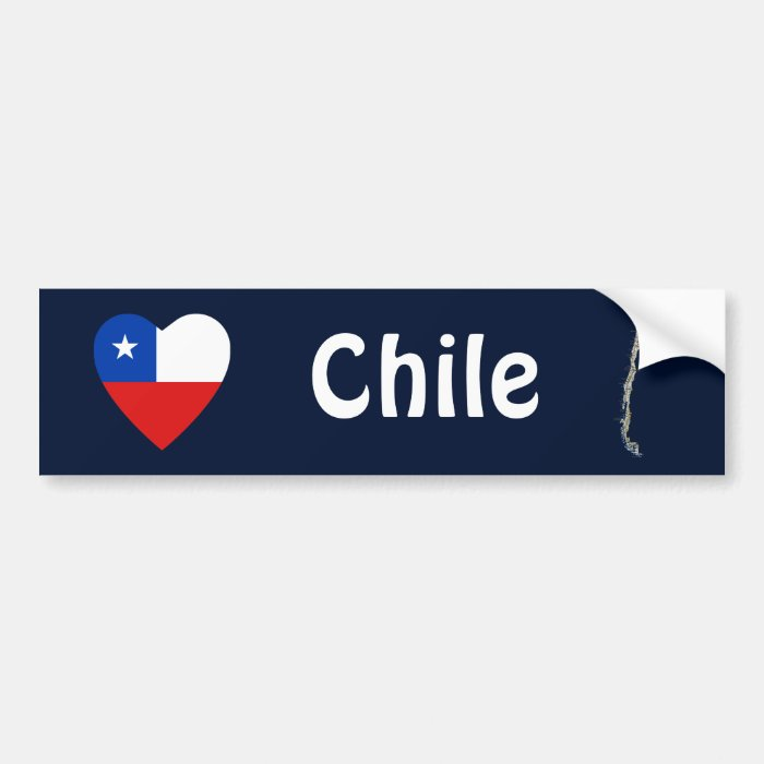 Chile Flag Heart + Map Bumper Sticker