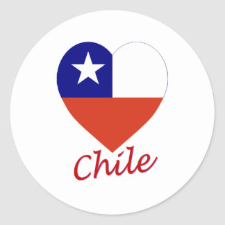 Chile Flag Heart Round Stickers