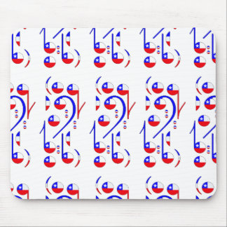 Chile Flag Musical Notes Mouse Pad