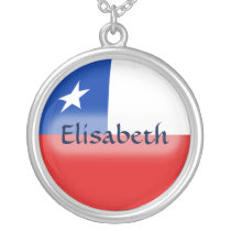 Chile Flag   Name Necklace