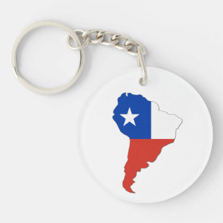 Chile Flag on a Map of South America Keychain