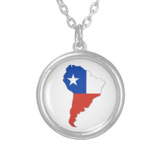 Chile Flag On A Map Of South America Silver Plated Necklace at Zazzle