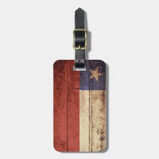 Chile Flag on Old Wood Grain Bag Tag