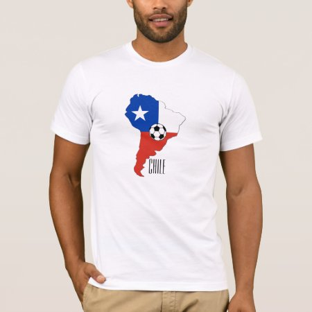 T Shirt that shows the flag of Chile, the Lone Start Flag (La Estrella Solitaria), with a single white star on a blue square background on top left corner, white to the right and the remaining half at the bottom in red, against an outline of South America. A soccer ball is shown in the centre, Ideal gift to commemorate Chile in the football world cup