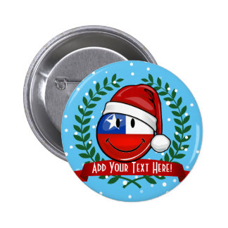 Chile Flag Smiley Christmas Style Button