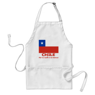 Chile Flag T-shirt with Chilean Motto Adult Apron