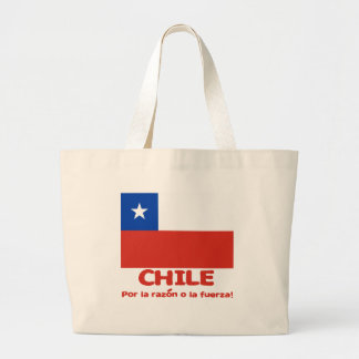 Chile Flag T-shirt with Chilean Motto Large Tote Bag