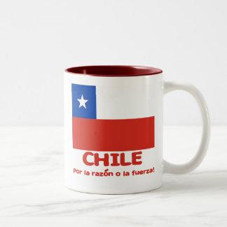 Chile Flag T-shirt with Chilean Motto Two-Tone Coffee Mug