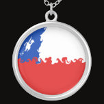 Chile Gnarly Flag Silver Plated Necklace