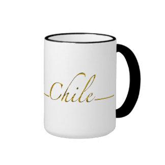 Chile (gold script) coffee mug
