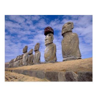 Chile, isla de pascua. Los 15 Moais en Ahu Postales