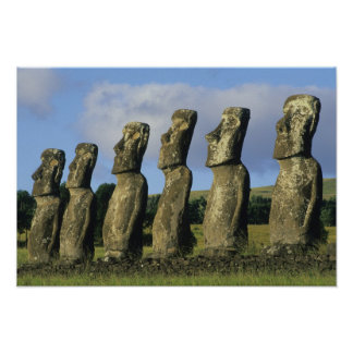 Chile isla de pascua Rapa Nui Ahu Akivi Poster