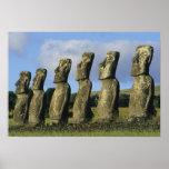 Chile, isla de pascua, Rapa Nui, Ahu Akivi Poster