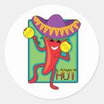 Chile mexicano etiquetas redondas