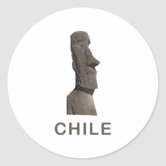 Chile Moai Classic Round Sticker