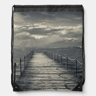 Chile, pier at Puerto Bories Drawstring Backpack