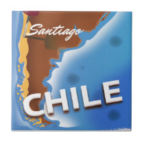 Chile santiago Vintage Travel poster Ceramic Tile