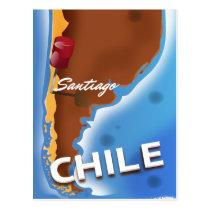Chile santiago Vintage Travel poster Postcard
