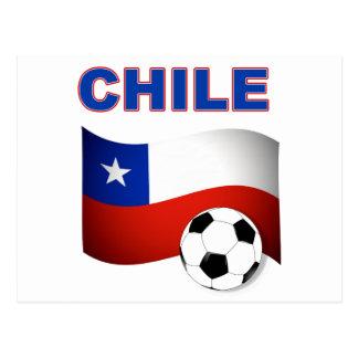 chile soccer football postcard