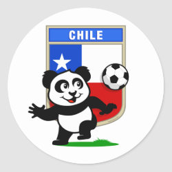 Round Sticker with Chile Football Panda design