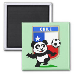 Square Magnet with Chile Football Panda design