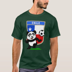 Men's Basic Dark T-Shirt with Chile Football Panda design