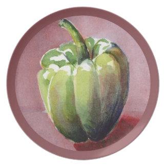 Chile Verde - Green Pepper Melamine Plate